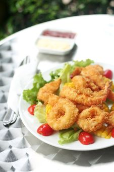 Fried Seafood Salad Stock Photography