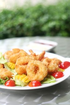Fried Seafood Salad Royalty Free Stock Photos