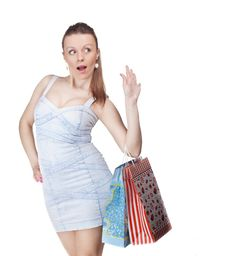 Free Surprised Girl With Bags Royalty Free Stock Photography - 18919767