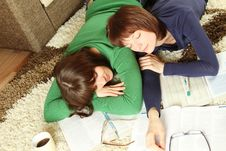 Young Girl Students Are Tired To Study And Sleep Royalty Free Stock Photo