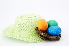 Free Easter Bonnet, Nest, And Eggs Royalty Free Stock Photography - 18919837