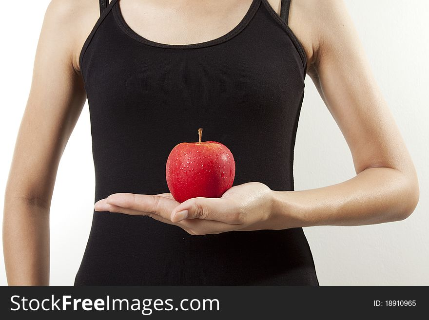 Apple on hand