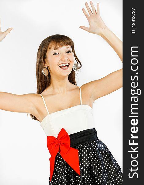 Beautiful fashion girl in delight