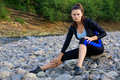 Free Girl In Sportswear Near The Mountain River Royalty Free Stock Images - 18927639