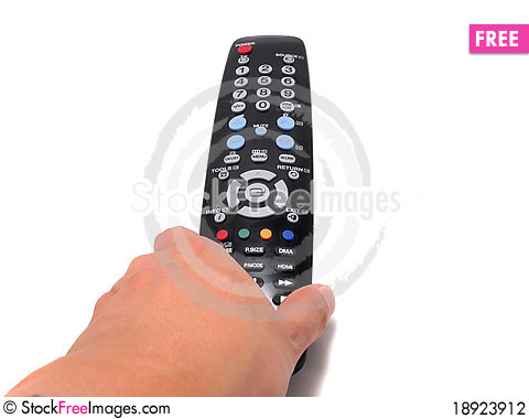 Free Hand Holding A Black Remote Control , Vertical Stock Photography - 18923912