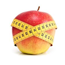 Red Apple With Measurement. Stock Image