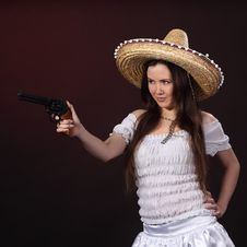 Mexican Girl Hold Revolver Stock Images