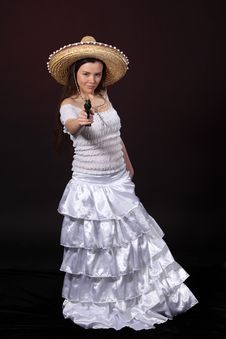 Mexican Girl Aim Revolver Royalty Free Stock Images