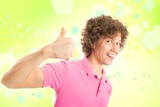 Free Happy Curly Man On Yellow Royalty Free Stock Photo - 18920545