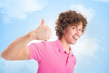 Free Happy Curly Man On Yellow Stock Photo - 18920550