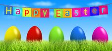 Free Colorful Easter Eggs In Green Grass Outdoors Stock Images - 18922774