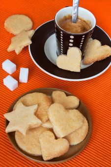 Free Almond Cookies And Black Coffee Stock Photo - 18923020