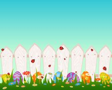 Free Wooden Fanse With Easter Colored Eggs Royalty Free Stock Photo - 18924355