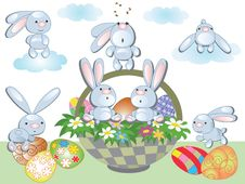 Easter Background With Rabbits Royalty Free Stock Photos