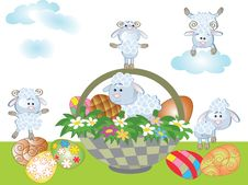 Easter Background With Sheep Stock Images