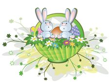 Easter Background With Rabbits Stock Images