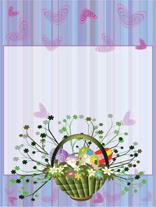 Free Easter Background With Basket Stock Photos - 18924753