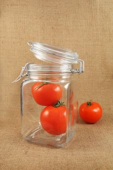 Tomatoes In Jar Royalty Free Stock Photography