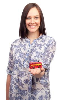 Free Young Woman With A British Double Deck Bus Royalty Free Stock Images - 18925869