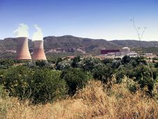 Nuclear Power Plant In Operation Royalty Free Stock Image