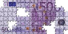 Puzzle Of A 500 Euro Banknotes Stock Photography