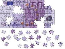 Puzzle Of A 500 Euro Banknotes Stock Images