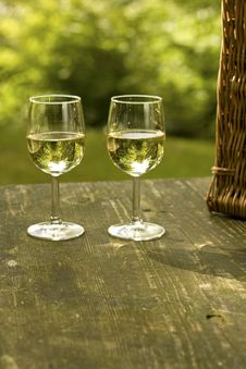 Free Picnic Table With Wineglass Stock Images - 18926234