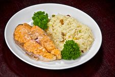 Salmon Prepared On Fire Stock Images