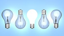 Free Light Bulbs Over Blue Background Stock Images - 18928574