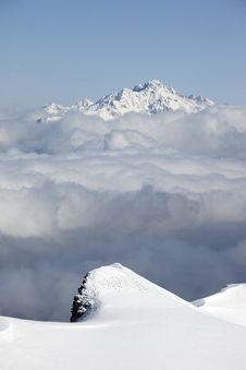 High Peaks Over Cloud Sea Stock Photo