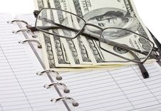 Free Opened Notebook, Dollars And Glasses Stock Photo - 18928930