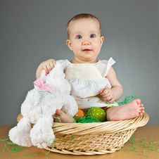 Free Young Cute Baby In An Easter Setting Royalty Free Stock Photos - 18929128