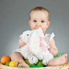 Free Young Cute Baby In An Easter Setting Royalty Free Stock Images - 18929129