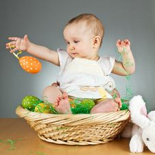Free Young Cute Baby In An Easter Setting Royalty Free Stock Photo - 18929135