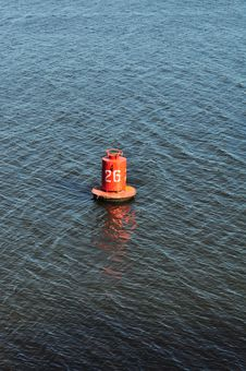 Buoy On The Water, Marine Distance Marker Royalty Free Stock Photos