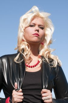 Blond Woman Against Sky Stock Images
