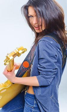 Free Guitar Girl Stock Images - 18929784