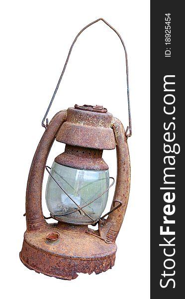 Old rusty oil lamp