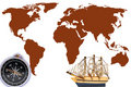 Free Compass  And Model Classic Boat Stock Photo - 18935000