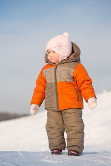 Cute Baby Stay On Mountain Side Stock Photos