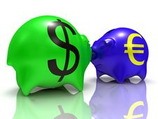 Dollar Vs Euro Royalty Free Stock Photo