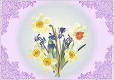 Free Bunch Of Narcissus In Lilac Frame Stock Photo - 18931580