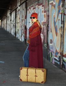 Free Woman With An Old Fashioned Suitcase Royalty Free Stock Image - 18932076