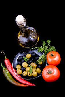 Olive Oil, Tomatoes, Pepper And Greens Royalty Free Stock Images