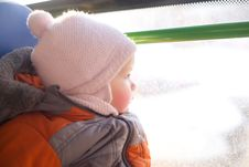 Free Adorable Baby Riding In City Bus Stock Photography - 18932332
