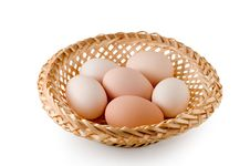 Free Eggs Lay In A Woven Basket Royalty Free Stock Photo - 18932935