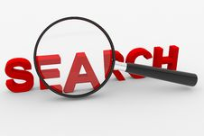 Magnifying Glass And 3D Text SEARCH Royalty Free Stock Photography