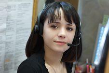 Free Young Beautiful Girl Telephone Operator Stock Photos - 18934903