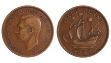 Free Antique Coin Of Great Britain 1918 Year Stock Photography - 18935232