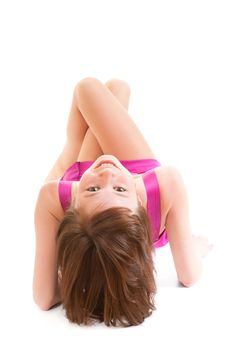 Free Girl In A Dress Lying On Her Back Stock Photos - 18935273
